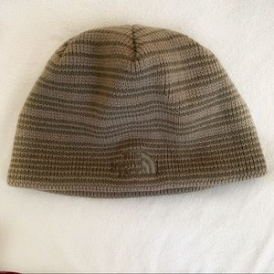 The North Face Striped Green Knit Beanie Unisex
